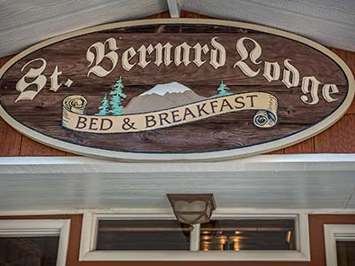 St. Bernard Lodge Sign Bed and Breakfast