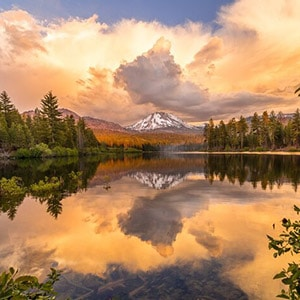 Lassen Volcanic Park- Reflection of Lassen Peak on Manznita Lake