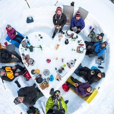 Group snow camping